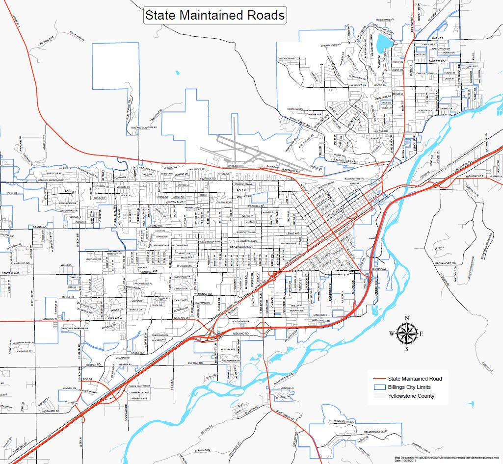 State Route Map City Of Billings MT Official Website - Montana in us map