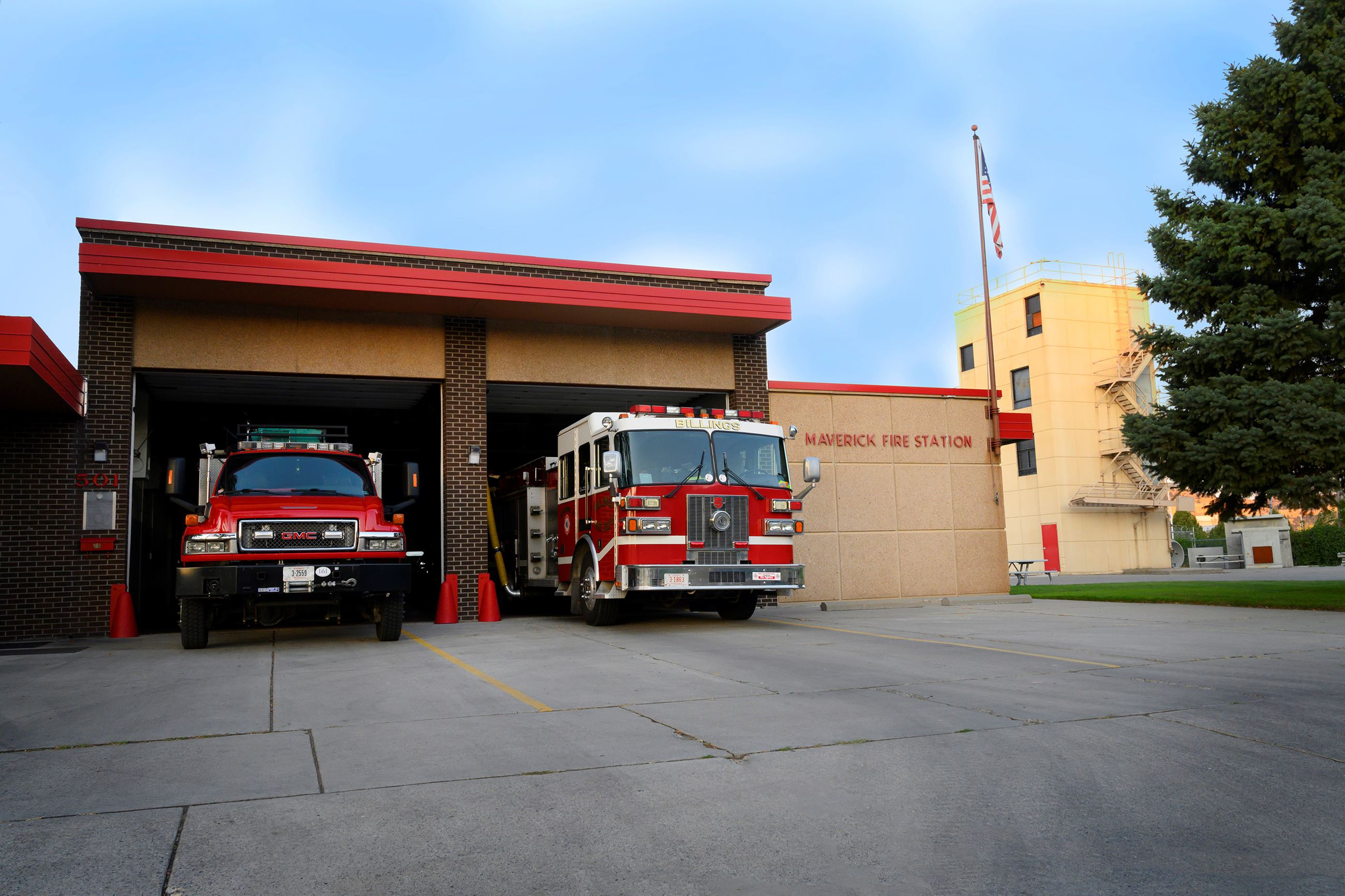 Fire Station 2 with apparatus on the ramp