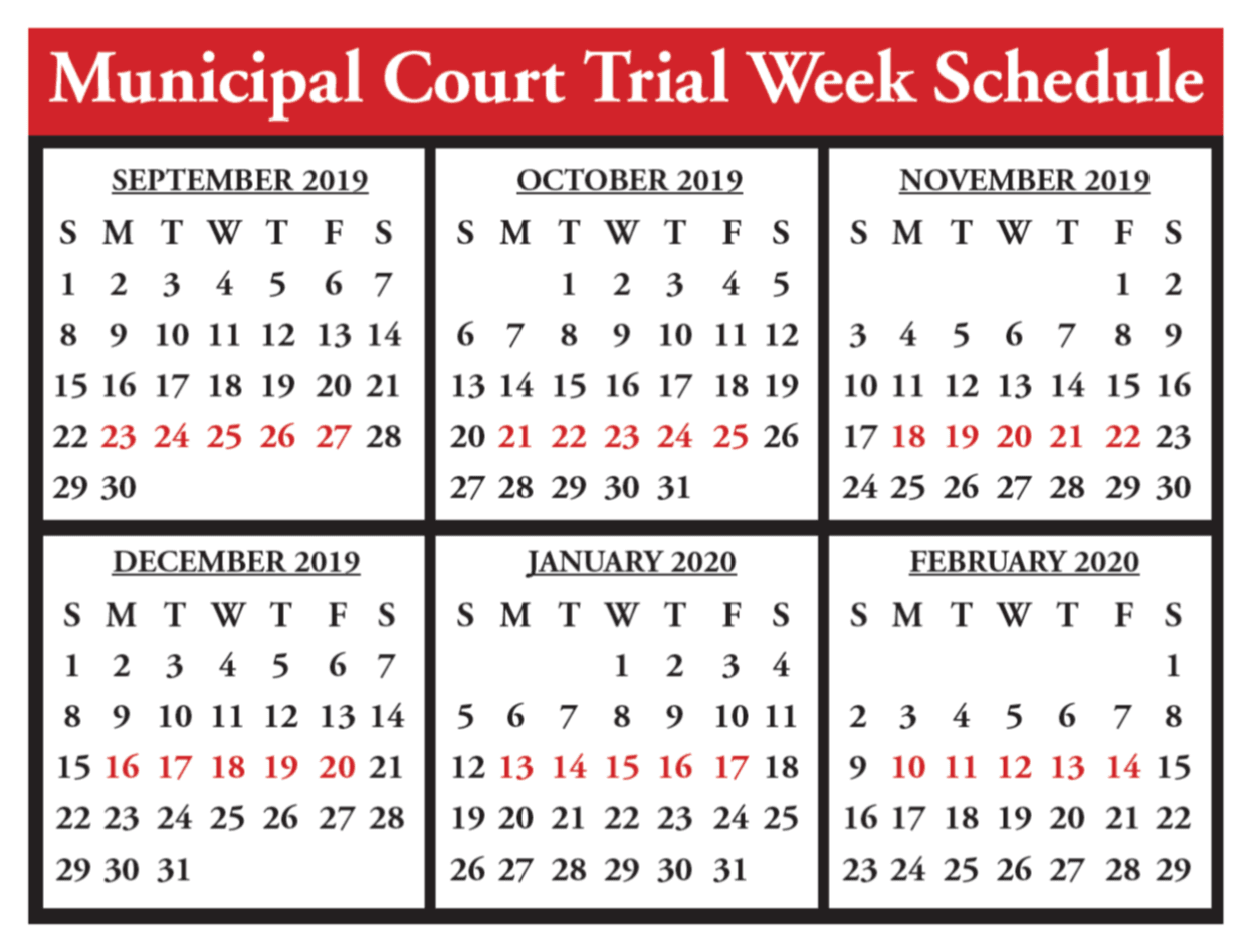 Court Calendar Sept. 19 to Feb. 20
