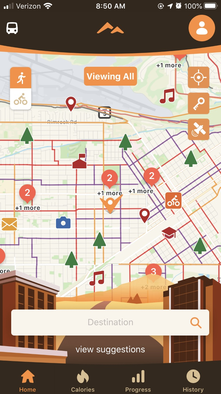 Heritage Trails App Overview. Displays a map of Billings with symbols representing parks, bikeways,